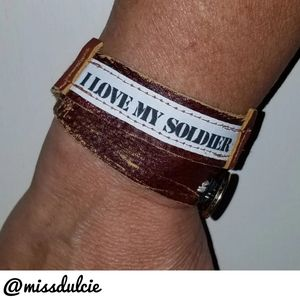 Leather Wrap Bracelet Military I Love My Soldier